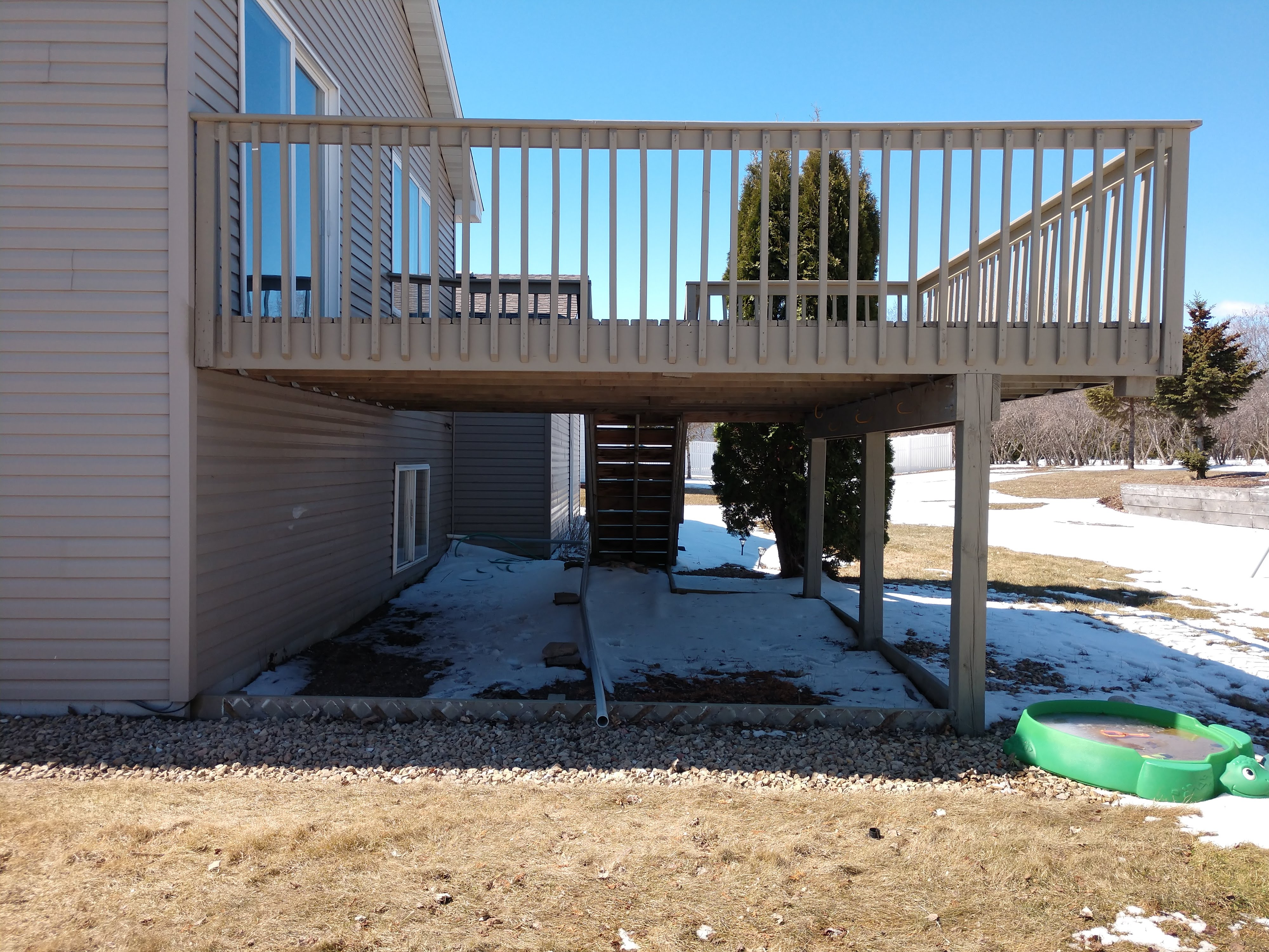 A recycled deck, improperly installed.