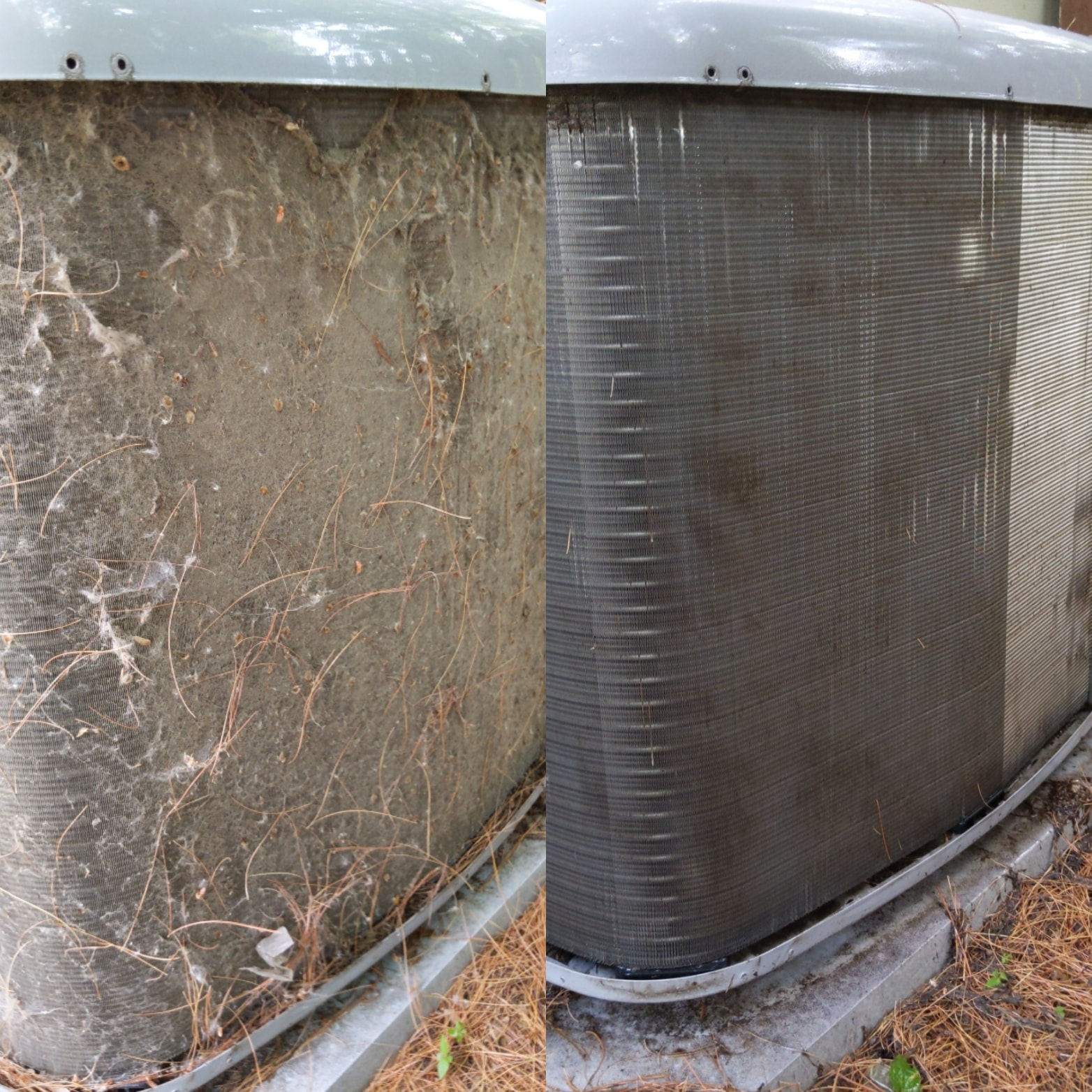 Before and after cleaning view of an AC unit